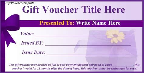 voucher template word gift voucher template free formats excel word
