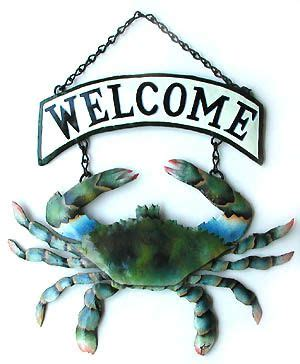 Crab Decorations For Home by Tropical Home Decor Painted Metal Blue Crab Outdoor