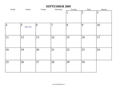 September 2005 Calendar September 2005 Calendar