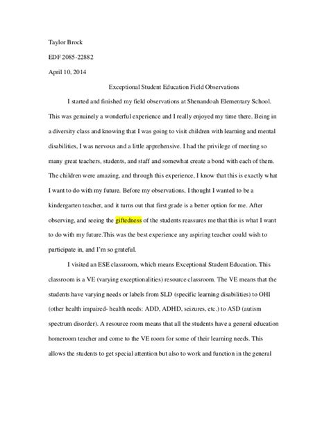 Observational Essay by Ese Field Observation Essay