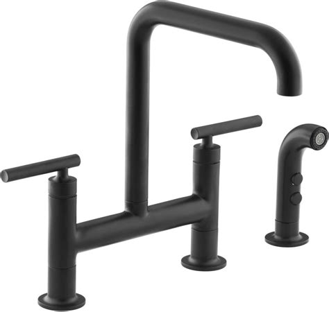 Kohler K 7548 4 BL Matte Black Purist Double Handle Bridge Kitchen Faucet with Rotating Spout