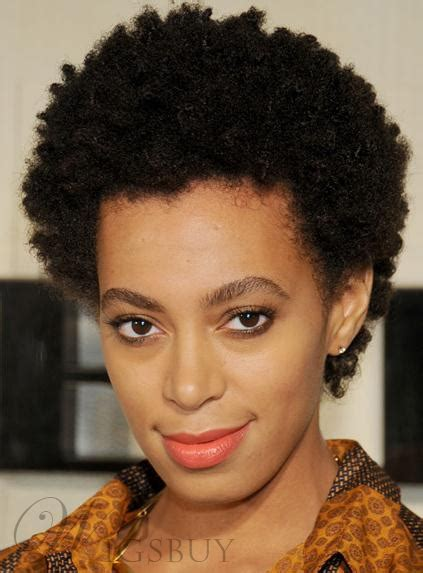solange knowles classic afro hairstyle short kinky curly hand  full lace wig  real human