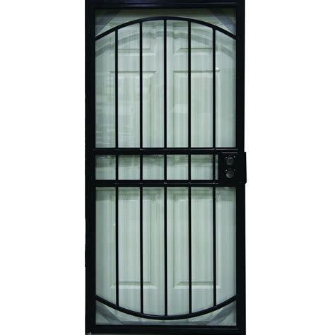 secure door shop larson geneva black steel security door common 36 in x 81 in actual 38 125 in