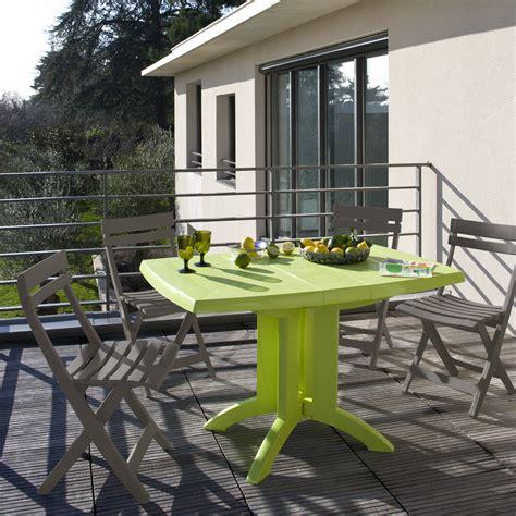 salon de jardin table vert anis 4 chaises miami