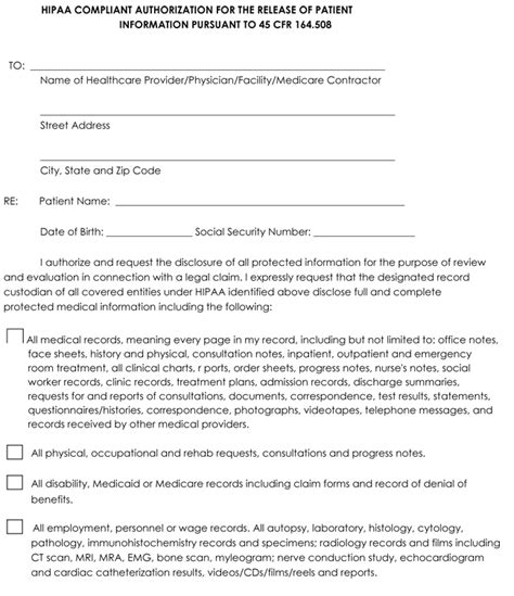 request for medical records form template medical record release