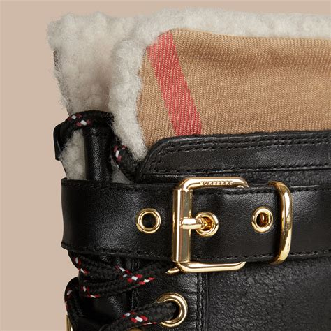 Boots Gift Cards Terms And Conditions - sueded shearling and check duck boots in black women burberry united states