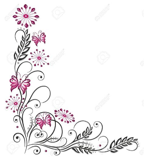 flower border tattoo flowers in pink and black with butterflies border