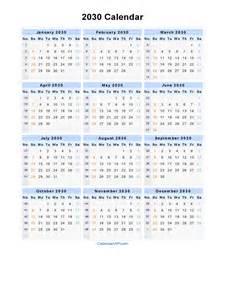 2030 calendar blank printable calendar template in pdf