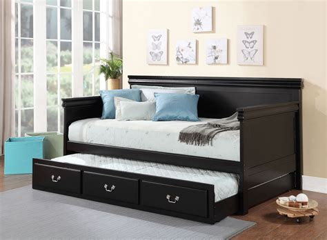 black day bed bailee black finish twin daybed trundle