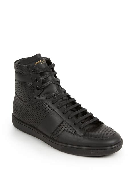 laurent sneakers laurent tonal perforated leather high top sneakers