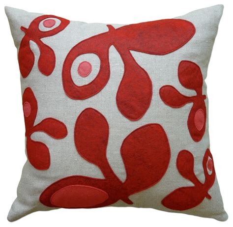 Felt Throw Pillows by Felt Appliqu 233 Linen Pillow Pod