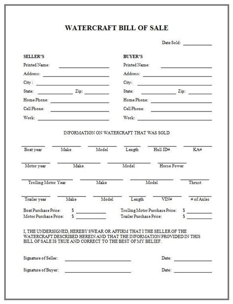 Printable Sle Boat Bill Of Sale Form Misc Pinterest Motorcycle Purchase Agreement Template