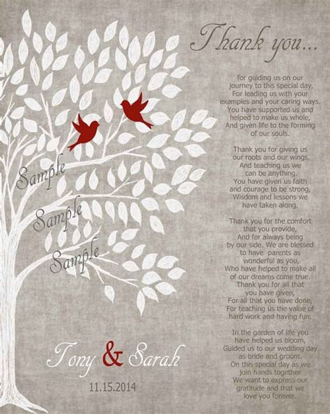 thank you poems for wedding presents parents wedding gift personalized parent s poem thank you parent s gift wedding day gifts for