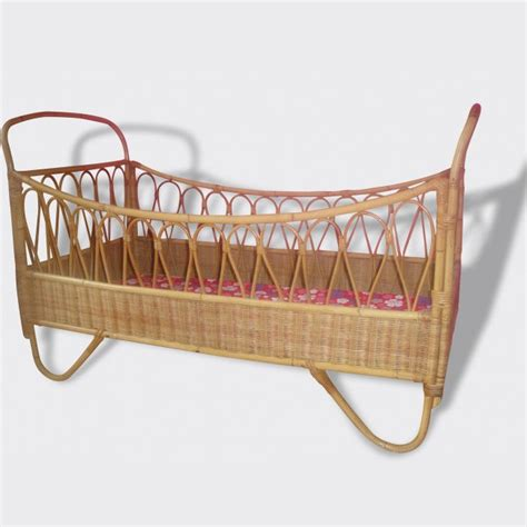 baby bed crib vintage bamboo rattan 1960
