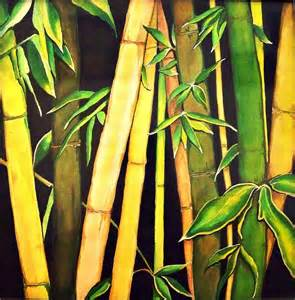 Ivy Shower Curtain - bamboo leaves painting by ivy sharma