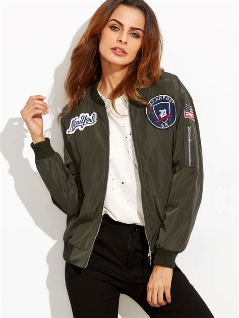 Bomber Pacht Army Ml embroidered badge patches zip sleeve bomber jacket shein sheinside