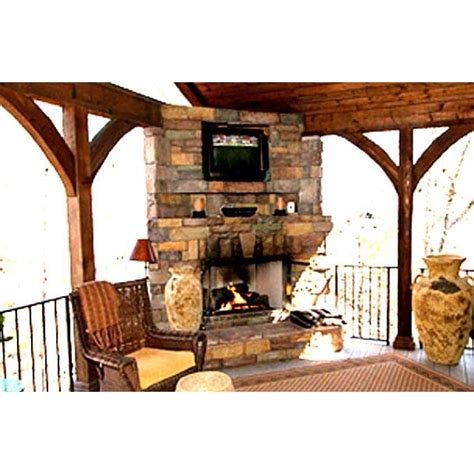 covered deck with corner fireplace outside decorating
