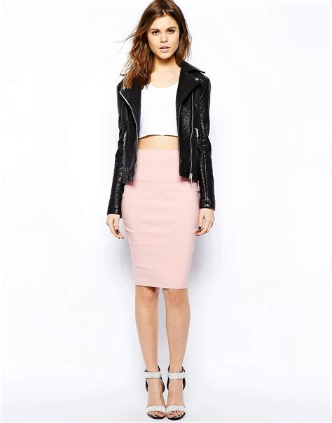 asos asos high waisted pencil skirt at asos