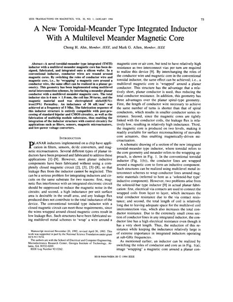 planar spiral inductor 中文 a new toroidal meander type integrated inductor with a multilevel meander magnetic pdf