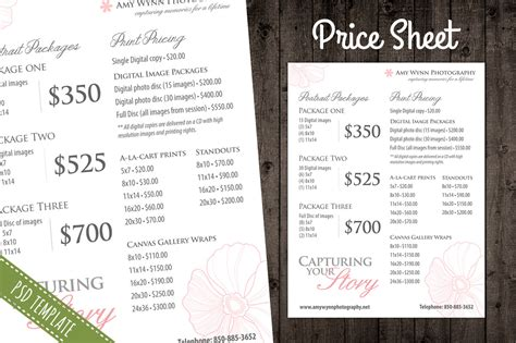 Price List Template Pricing Sheet Flyer Templates On Creative Market Graphic Design Price List Template