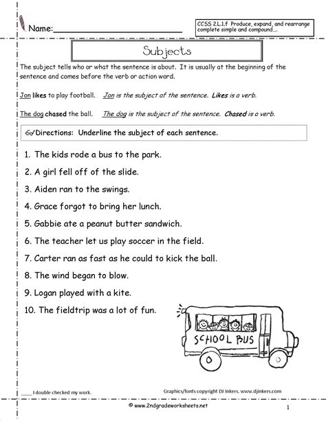 Identify The Subject Of A Sentence Worksheet by Second Grade Sentences Worksheets Ccss 2 L 1 F Worksheets