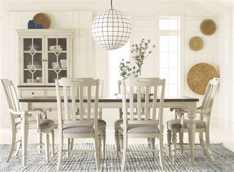 legacy dining room set brookhaven vintage linen and rustic dark elm extendable