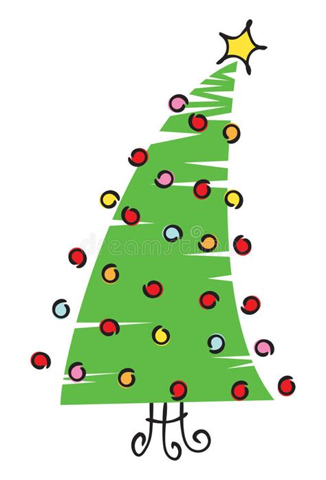 scribble christmas tree illustration stock vector image