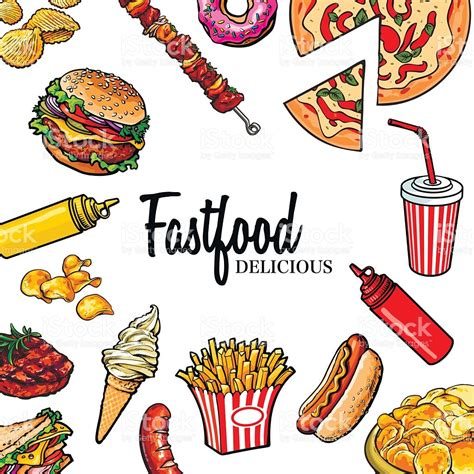 food vector sketch style hand drawn fast food vector frame stock