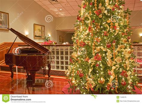 christmas tree and piano royalty free stock image image