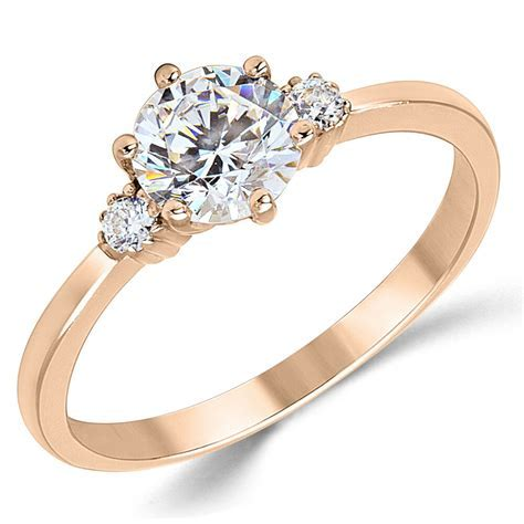 14K Solid Rose Pink Gold CZ Cubic Zirconia Three Stone