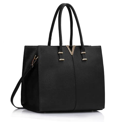 Black Fashion Bag leahward s faux leather tote handbags large shoulder