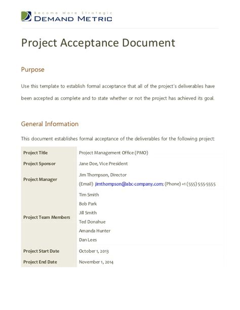 Project Acceptance Letter Exle Project Acceptance Document