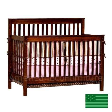 Wood Convertible Cribs Quincy Slats 4 In 1 Convertible Baby Crib Solid Wood Made In Usa American Eco Furniture