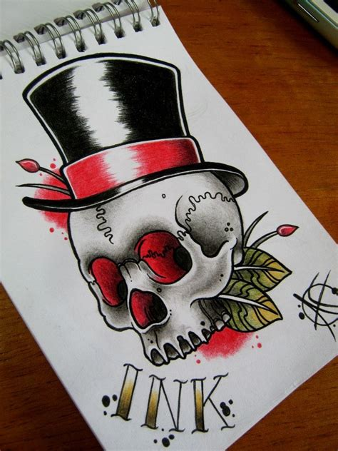 old school skull tattoo designs skull with top hat my future ideas