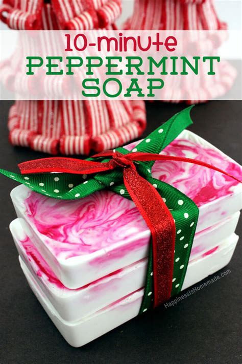 quick easy homemade christmas gifts 10 minute diy gift idea peppermint soap happiness is