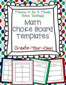 choice board template math choice board templates create your own math