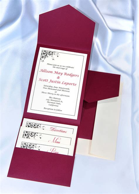 Wedding Pocket Invitations by Print Your Own Burgundy Wedding Invitations Burgundy