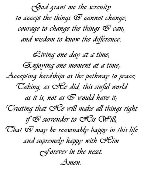 printable version of the serenity prayer free printable the long version of the serenity prayer