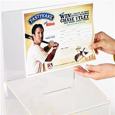 Sweepstakes Box - sweepstakes box display with security lock and sign channel
