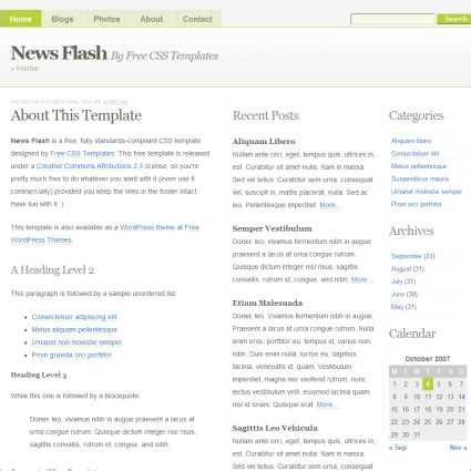 news flash template newsflash free website templates in css html js format