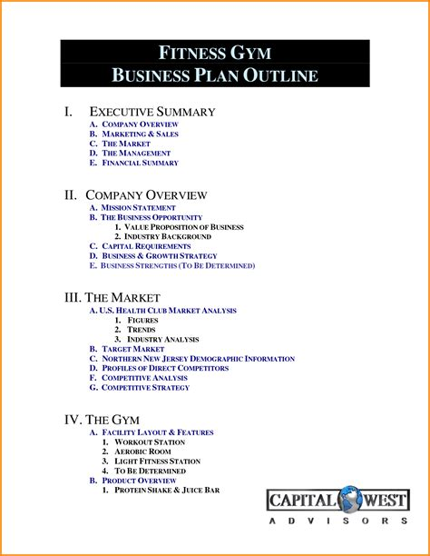 business plan layout word