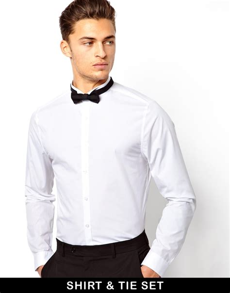 Collar Shirt With Bow Tie Blue lyst asos smart shirt with wing collar and bow tie set in white for