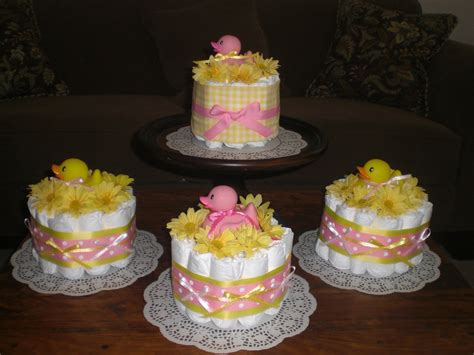 cake centerpiece pink and yellow cakes babyshower centerpieces bundt