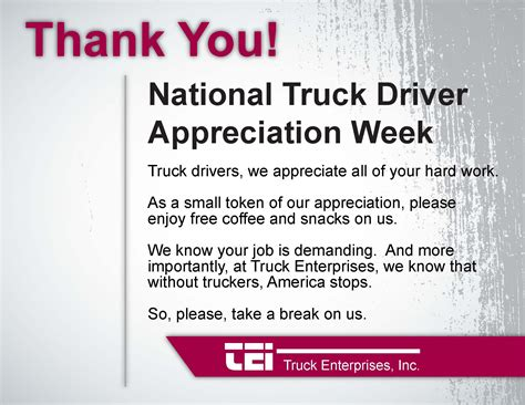 appreciation letter to driver national driver appreciation week 2013 just b cause