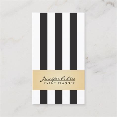 faux gold black  white stripe event planner business