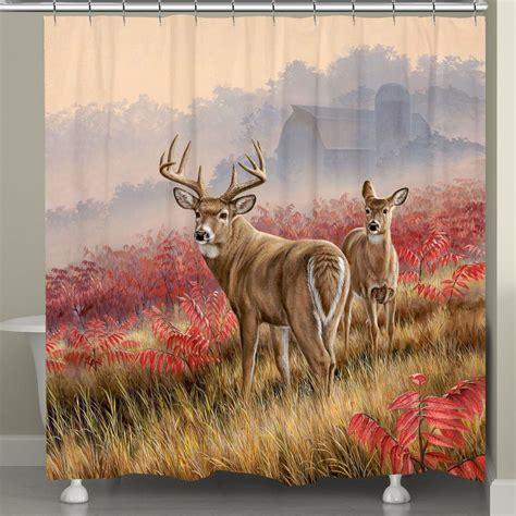 deer drapes deer in lifting fog shower curtain