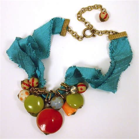 material to make jewelry beaded necklace tutorial w silk ribbon