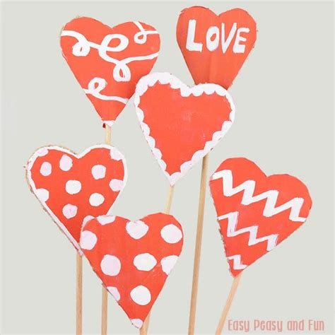 hearts for valentines day cardboard valentines day hearts craft easy peasy and