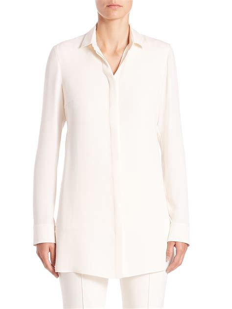 Tunik Blouse lyst akris silk tunic blouse in white