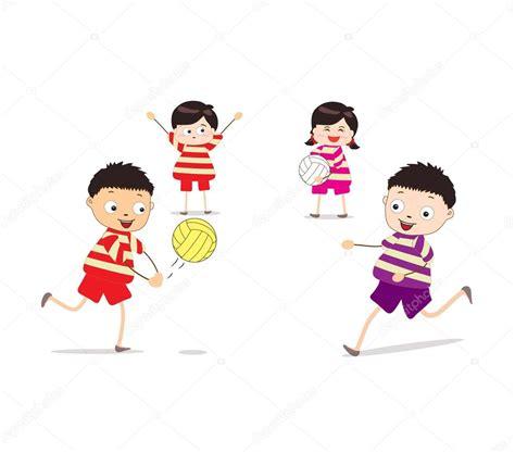 imagenes de niños jugando volibol ni 241 os jugando voleibol vector de stock 169 ngocdai86 50182451